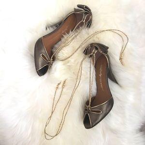 MISS SIXTY Leather Peep Toe Heels w/ Golden Ties